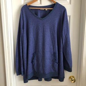 LOGO Lori Goldstein Blue V Neck Sweatshirt Lace